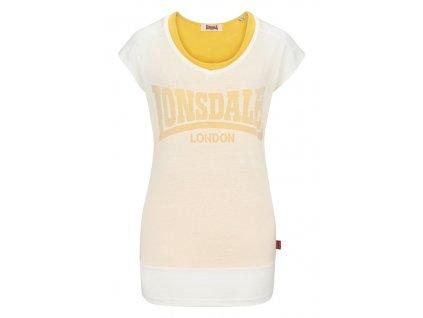 Lonsdale TIVERTON white / yellow dámske tričko