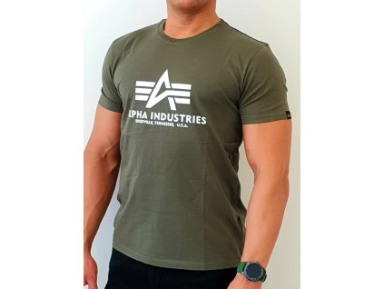 Alpha Industries Basic T-Shirt Dark Olive tričko pánske