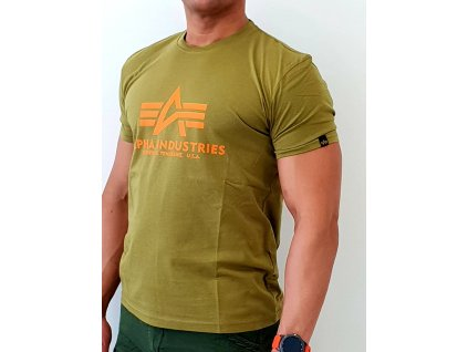 Alpha Industries Basic T Shirt Khaki Green tričko pánske