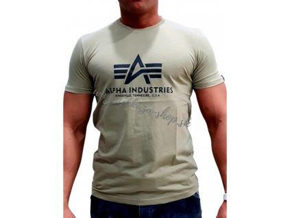 Alpha Industries Basic T Shirt Light Olive tričko pánske A