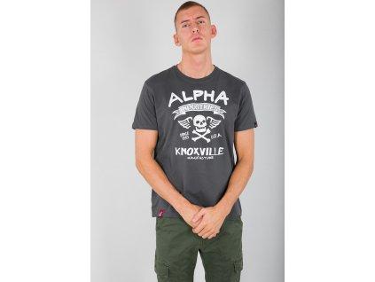 Alpha Industries Skull T Greyblack tričko pánske