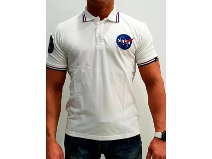 Alpha Industries NASA Polo White tričko pánske