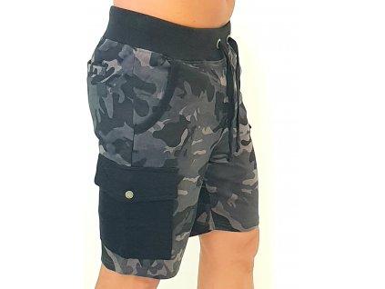 Alpha Industries Cargo Jogger Short Black Camo pánske šortky