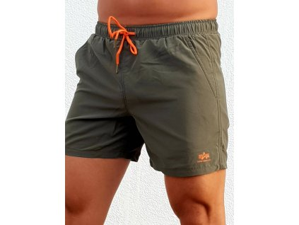 Alpha Industries plavkové šortky BASIC SWIM SHORT dark olive
