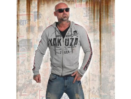 Yakuza BAD SIDE mikina na zips HZB 14010 grey mellang