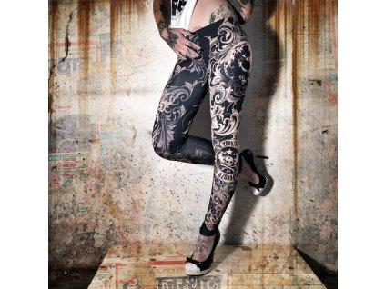 Yakuza Floral Leggings LEB 7135 mood indigo legíny