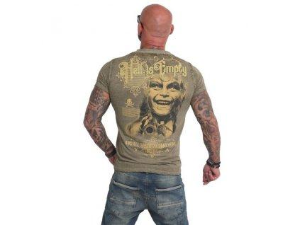 Yakuza HELL IS EMPTY burnout tričko pánske TSB 14061 dark olive