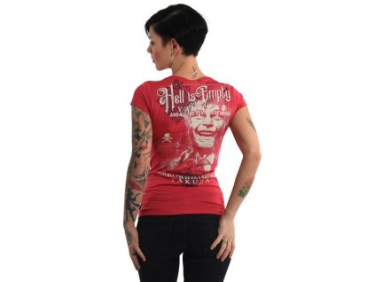 Yakuza HELL IS EMPTY V NECK dámske tričko GSB 14144 roses red