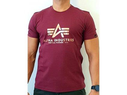 Alpha Industries Basic T Shirt Burgundy/Gold tričko pánske