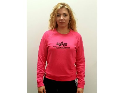 Alpha Industries dámska mikina New Basic Sweat Wmn neon pink