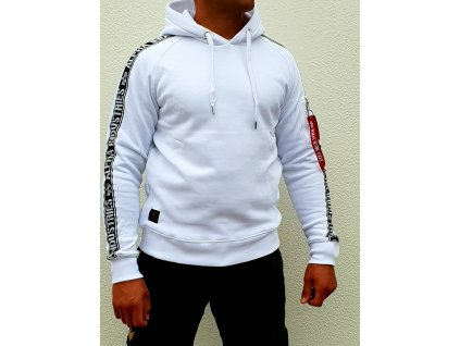 Alpha Industries AI TAPE HOODY white pánska mikina