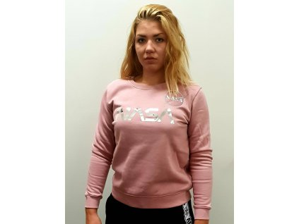 Alpha Industries dámska mikina NASA PM Sweater Wmn Silver Pink/Chrome