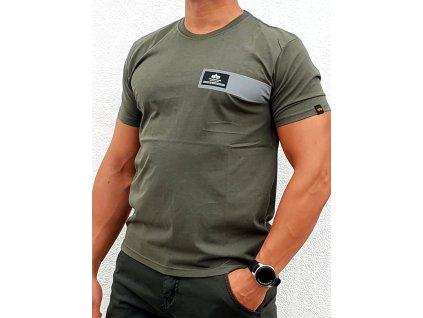 Alpha Industries REFLECTIVE STRIPES T dark olive tričko pánske