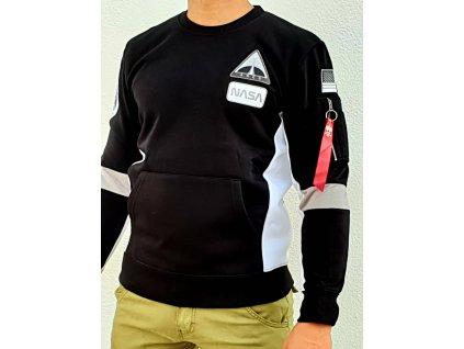 Alpha Industries SPACE CAMP Sweater Black mikina pánska