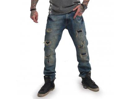 Yakuza pánske jeansy BIKER STRAIGHT JEANS CPB 14084 medium distressed