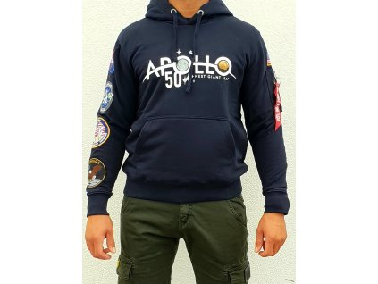 Alpha Industries APOLLO 50 Patch Hoody rep blue mikina pánska