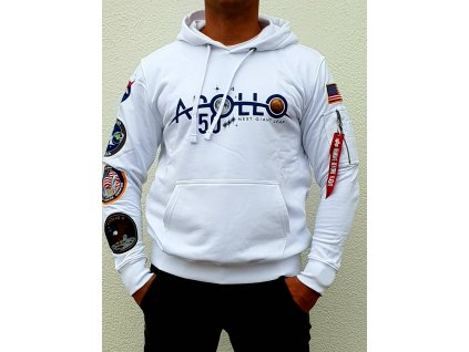 Alpha Industries APOLLO 50 Patch Hoody white mikina pánska
