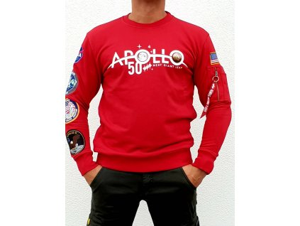 Alpha Industries Apollo 50 Patch Sweater speed red mikina pánska