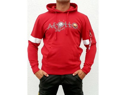 Alpha Industries Apollo 50 Reflective Hoody speed red mikina pánska