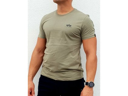 Alpha Industries Basic T Small logo Olive tričko pánske
