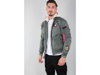 Alpha Industries MA-1 TT Hood Patch bunda pánska vintage green