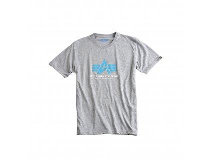 Alpha Industries Basic Foam Print T grey heather tričko pánske