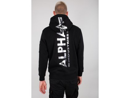 Alpha Industries Back Print Hoody Foil Print pánska mikina black chrome a