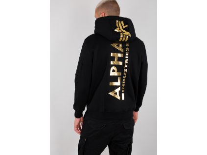 Alpha Industries Back Print Hoody pánska mikina black gold a