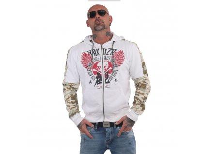 Yakuza NIPPON SKULL TWO FACE mikina na zips HZB 14009 white