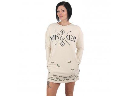 Yakuza dámska dlhá mikina - šaty GKB 15106 bone white