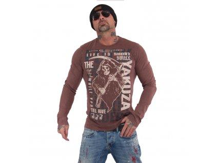 Yakuza tričko s dlhým rukávom pánske LIFE IS SHORT LSB 15016 coffee bean