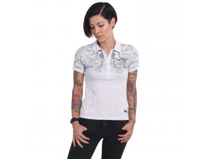 Yakuza dámske polo tričko ORNAMENTAL SKULL PIQUE POLO GPO 14158 white