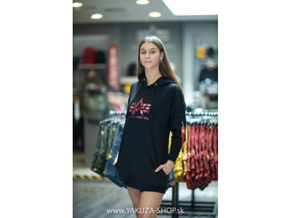 Alpha Industries Big A Hoody Wmn dámska dlhá mikina black g