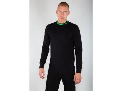 Alpha Industries Neck Print LS tričko pánske s dlhým rukávom Black Neon Green e