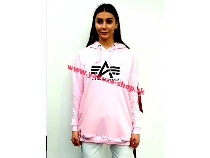Alpha Industries Big A Hoody Wmn dámska dlhá mikina pastel pink