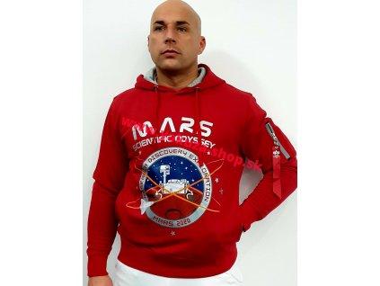 Alpha Industries MissionTo Mars Hoody pánska mikina speed red