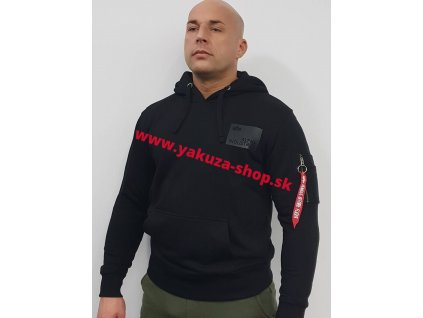 Alpha Industries Rubber Patch Hoody pánska mikina black