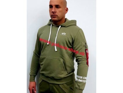 Alpha Industries Unlimited Hoody pánska mikina olive