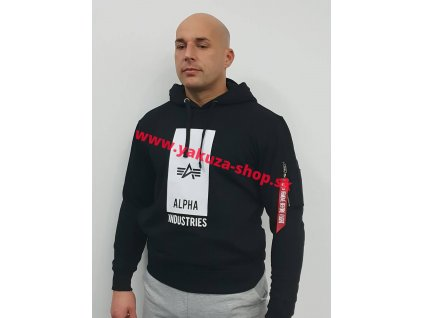 Alpha Industries Block Logo Hoody pánska mikina black