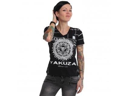 Yakuza dámske tričko MANDALA V Neck GSB 15127 black