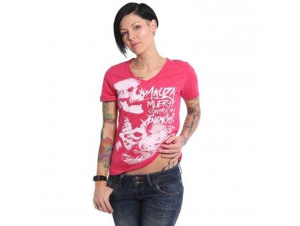 Yakuza dámske tričko MUERTE V Neck GSB 15126 rose red