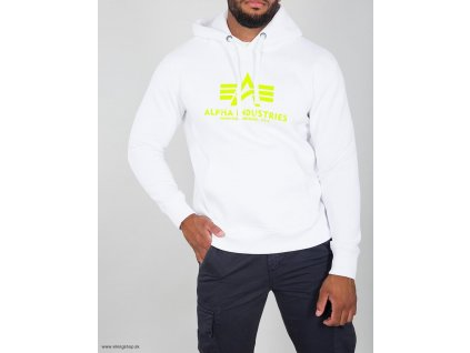Alpha Industries Basic Hoody pánska mikina white/neon yellow