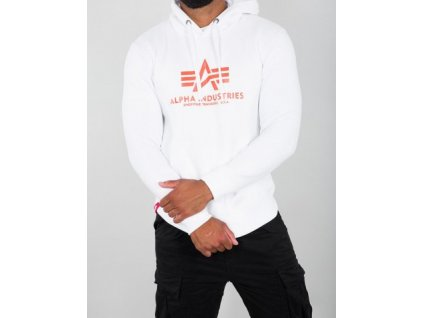 Alpha Industries Basic Hoody pánska mikina white/neon orange