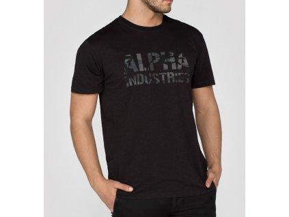 Alpha Industries Camo Print T Black/Black tričko pánske