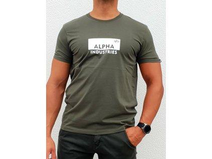 Alpha Industries BOX LOGO T dark olive tričko pánske