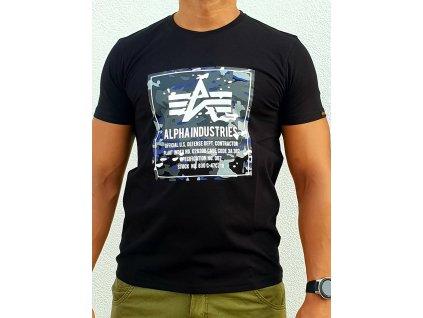 Alpha Industries CAMO BLOCK T black tričko pánske