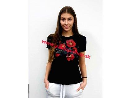 Alpha Industries FLOWER LOGO T Wmn Black dámske tričko
