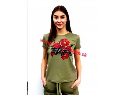 Alpha Industries FLOWER LOGO T Wmn olive dámske tričko