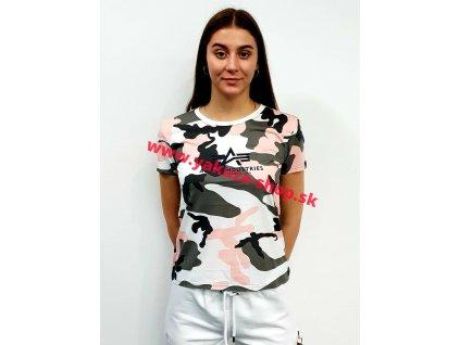 Alpha Industries NEW CAMO BASIC T Wmn greypink camo dámske tričko
