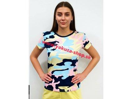Alpha Industries NEW CAMO BASIC T Wmn navypink camo dámske tričko